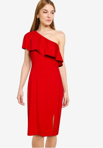 ZALORA OCCASION red One Shoulder Frill Dress AA249AA381ACE0GS_1