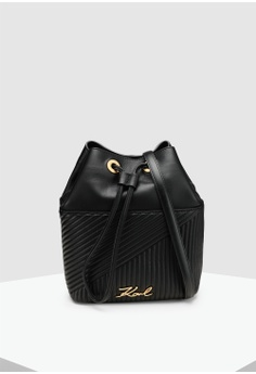 7ef7ac3c6188 KARL LAGERFELD black Signature Quilted Bucket E10D9ACAB56CBAGS 1