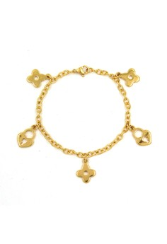 Plated Flower and Lock Bracelet