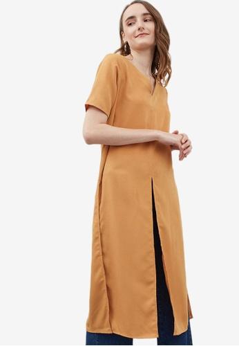 Berrybenka orange Gillian Slit Top 7AD5AAAA3F7304GS_1