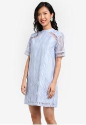 ZALORA blue High Neck Trim Insert Lace Shift Dress 6BA9EZZ2F4220DGS_1