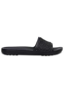446cb0421324aa Women s Crocs Sloane Embellished Slides Blk Blk CR883SH0RMUYMY 1