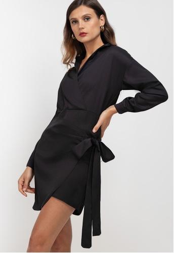 ZALORA WORK black Wrap Shirt Dress A7B87AAFB45FE4GS_1