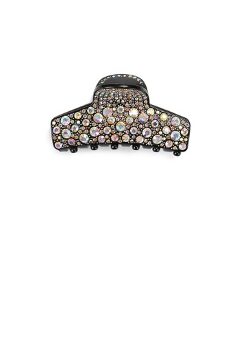 Glamorousky black and multi Fashion Bright Black Geometric Hair Claw with Colorful Cubic Zirconia F81CAAC9DC654EGS_1