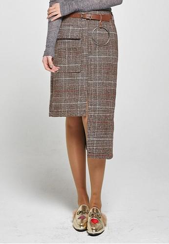 韓流時尚 不平衡帶子格子裙 F4esprit 衣服008, 服飾, 洋裝