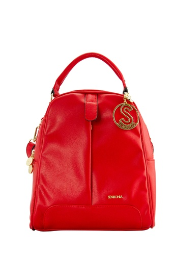 SEMBONIA red SEMBONIA Synthetic Leather Backpack (Red) SE598AC0S8PIMY_1