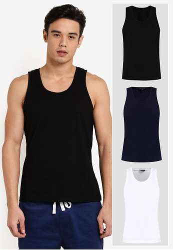 ZALORA black and white and navy 3 PACK COTTON CREW NECK TANK TOP ZA819AA0T27OMY_1