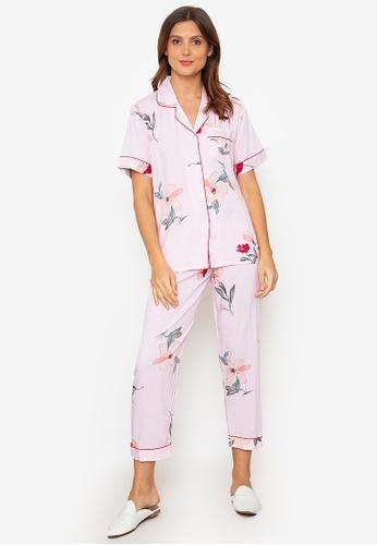 FEMINISM pink Cotton Shortsleeve Pajama 38851AA5486DC2GS_1