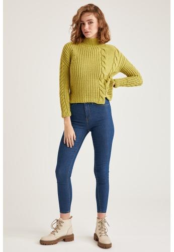 DeFacto 藍色 High Waist Super Skinny Jeans 73676AAFE96D96GS_1