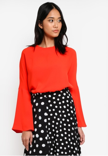 TOPSHOP red Split Sleeve Blouse BC520AA564BDFEGS_1