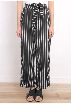 Vertical Stripe Tie Waist Pants
