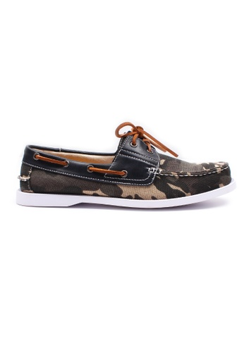 Moley grey Camo Canvas Boat Shoe MO329SH0HAVISG_1