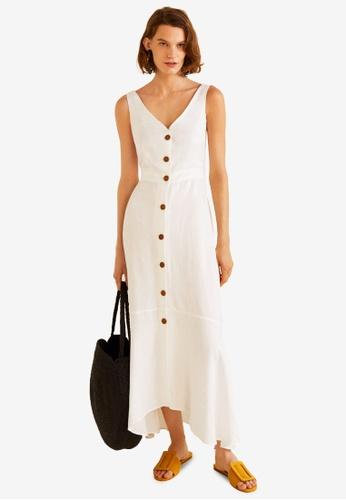 Mango white Ruffled Linen Dress 6EF93AA004B822GS_1