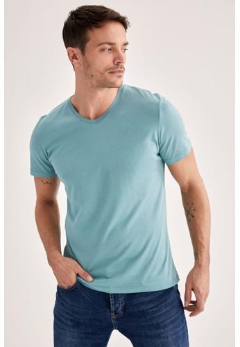 DeFacto green Short Sleeve V-Neck Basic T-Shirt 55E08AA2D6C9CDGS_1