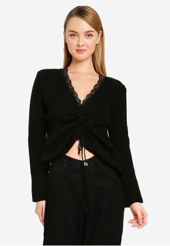 MISSGUIDED black Lace Trim Ruched Front Jumper FEA12AAF7310EBGS_1