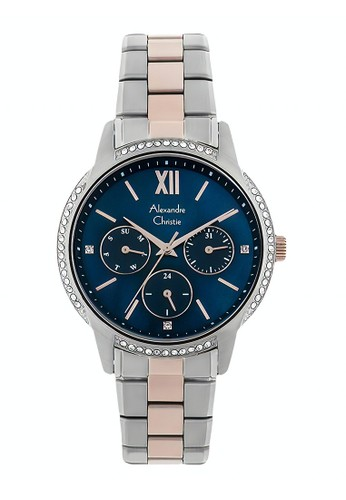 Alexandre Christie gold and silver Alexandre Christie Jam Tangan Wanita - Silver Rosegold Blue - Stainless