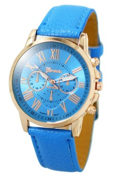 Geneva Celine Leather Strap Watch (Sky Blue)