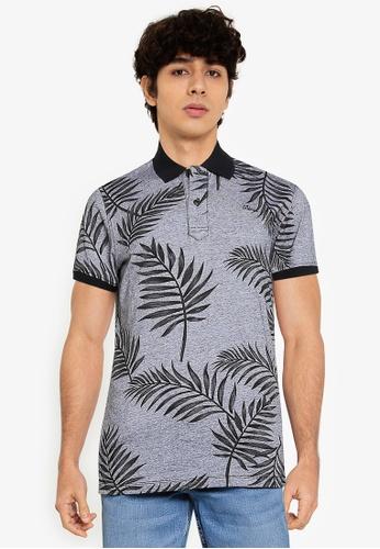 BLEND black Leaf Print Polo Shirt EE128AA0DB2D2AGS_1