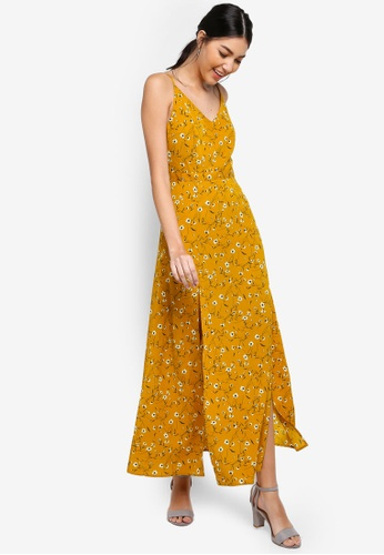 ZALORA yellow and multi Cami Maxi Dress With High Slits FE34AAACB80857GS_1