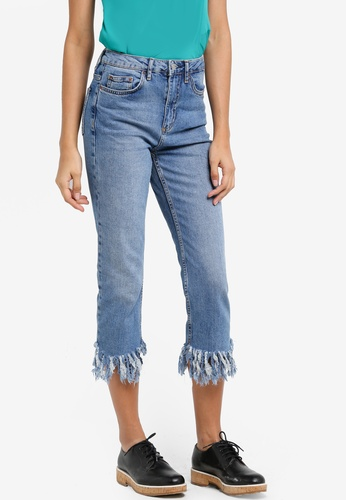TOPSHOP blue Moto Fringe Hem Straight Leg Jeans TO412AA31NFGMY_1