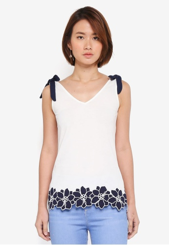 Dorothy Perkins white Ivory Tie Trim Hem Vest Top B6797AA4FFB237GS_1