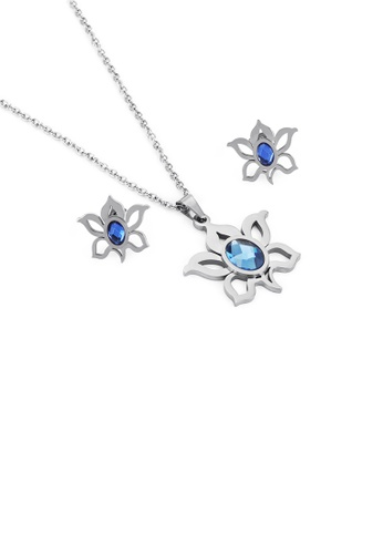 Glamorousky blue Fashion and Elegant Flower 316L Stainless Steel Necklace and Stud Earrings with Blue Cubic Zirconia F9684AC31ECC87GS_1