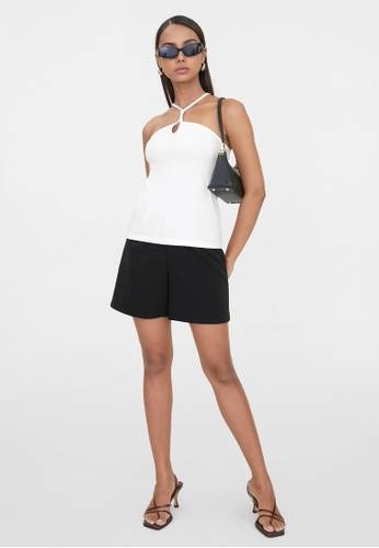 Pomelo white Sustainable Cut Out Halter Neck Top - White B1F64AABE86A5BGS_1