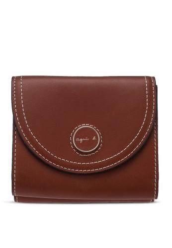 agnès b. brown Stitch Detail Front-Flap Short Wallet E1CC4ACD70E1CFGS_1