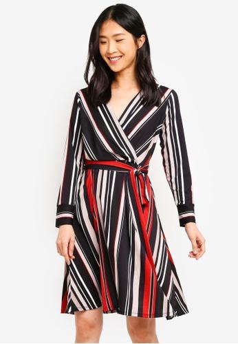 4463c0739c7e4 Shop Wallis Petite Black Striped Wrap Dress Online on ZALORA Philippines