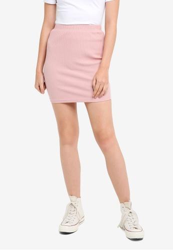 Something Borrowed pink Bodycon Mini Skirt 3CD3BAA1F19B86GS_1