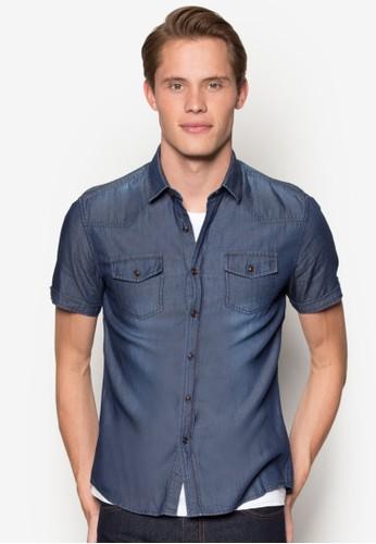 丹寧短袖襯衫、 服飾、 襯衫Yishion丹寧短袖襯衫最新折價