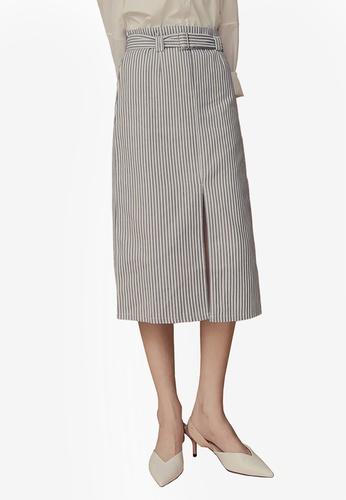 Kodz blue Striped Midi Skirt With Belt 35B01AA4673A1CGS_1