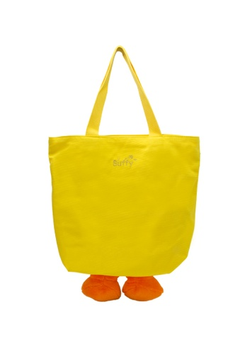 B.Duck yellow B.Duck Tote Bag with 3D Duck Legs 2A559KC127AD6EGS_1
