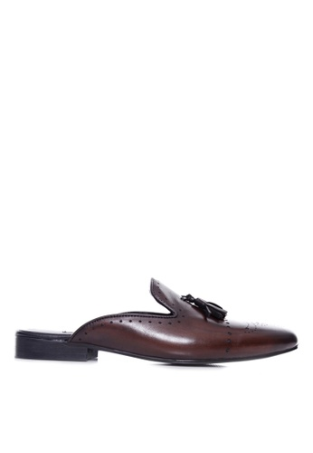 Zeve Shoes brown Zeve Shoes Mules - Dark Brown Perforated Brogue Tassel (Hand Painted Patina) 2936FSHF2D4F26GS_1