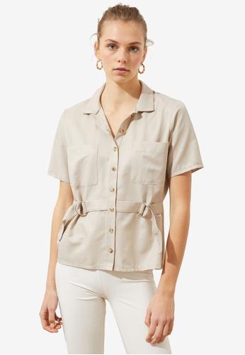 Trendyol beige Buckle Detail Short Sleeve Shirt 418D1AA8F0ECA4GS_1