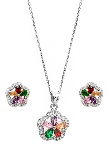 Silverworks silver Multicolored Flower Design Earrings and Necklace Set SI696AC65UWWPH_1