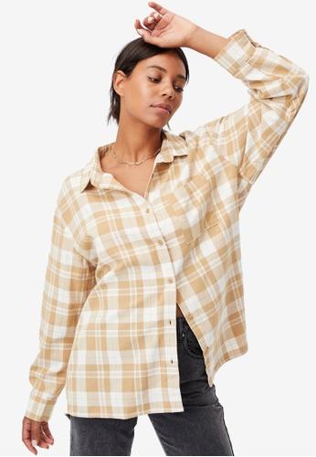 Cotton On brown Boyfriend Shirt 59674AA405D426GS_1