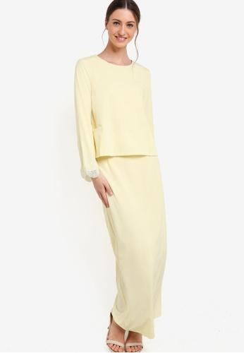 Lubna yellow Side Pocket Kurung LU723AA88XXVMY_1