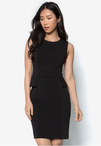 腰飾無袖連身zalora時尚購物網評價裙, 服飾, 洋裝