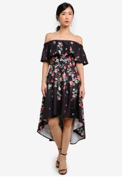 ZALORA black and multi Placement Print Off Shoulder Dress F32C9AA911D75AGS_1