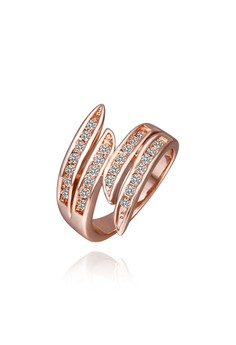 18k Rose Gold Plated Diorelle Angel's Wings Ring (Size 6)