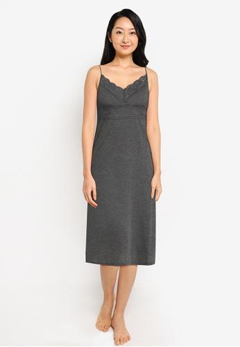 ZALORA BASICS navy Lounge Lace Trim Dress 066B1AA890EB66GS_1
