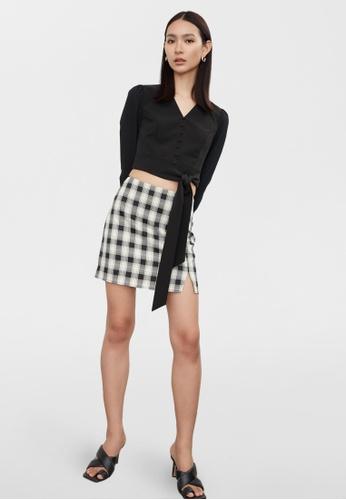Pomelo black Tie Waist Buttoned Crop Blouse - Black 50857AA6731E1DGS_1