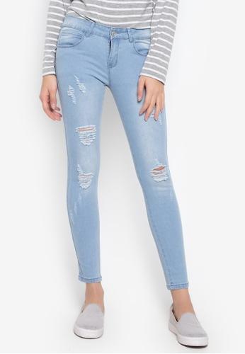 Balaynor blue Fashion Light Blue Skinny Distressed Jeans 2687EAA5993DDDGS_1