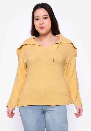 Violeta by MANGO yellow Plus Size Hooded Knit Sweater 07243AA4855A54GS_1