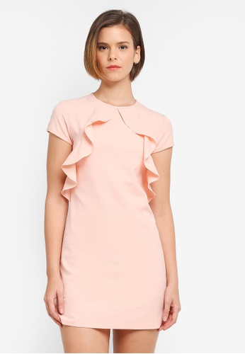 ZALORA pink Cascade Ruffle Dress E7A8BAA1363327GS_1