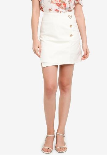 Hopeshow white Front Overlap Mini Skirt 842BDAA15B77C0GS_1