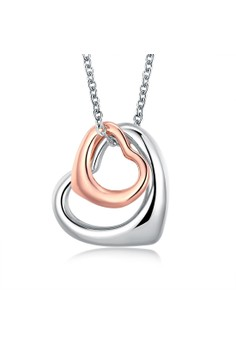 Treasure by B&D N005 Rose Plated Double Heart Pendant Plated Necklace