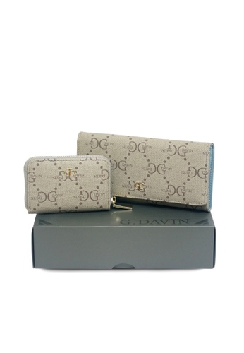 G.DAVIN blue G.Davin Signature Synthetic Leather Bi-Fold Long Wallet with Coin Pouch Set E0C39AC93BD6BFGS_1