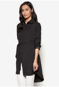 Loose-Long Button Top with Matching Belt